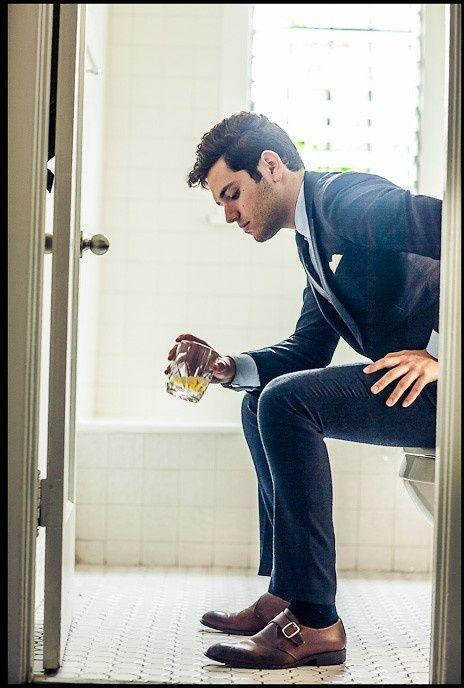Tobacco Brown Shoes Blue Suit