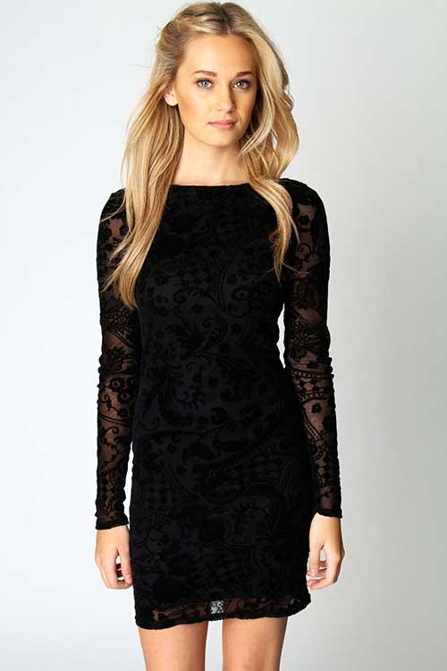 Uzun-Kollu-Siyah-Dantelli-Elbise